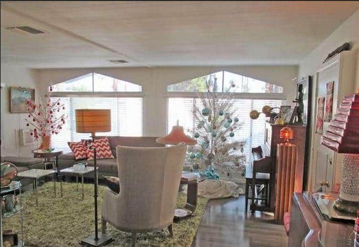 beautiful mid-century mobile home living room