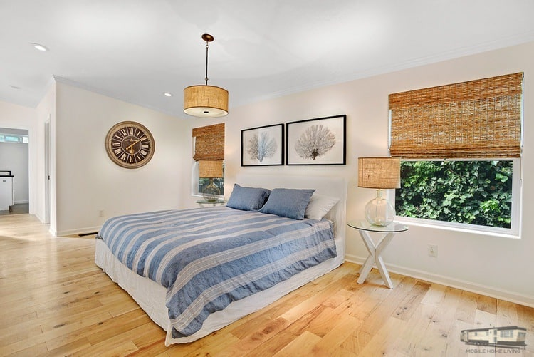 Bedroom of beautiful malibu mobile home