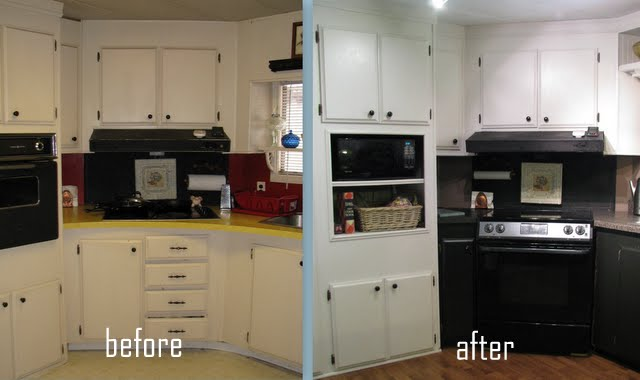 before and after images of budget kitchen makeover