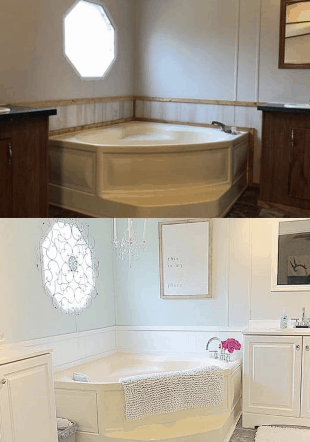 before and after mobile home bathtub restoration