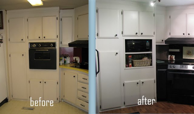 beofre and after cabinetry in mobile home kitchen