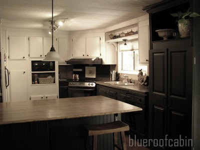 black and white kitchen remodel in mobile home