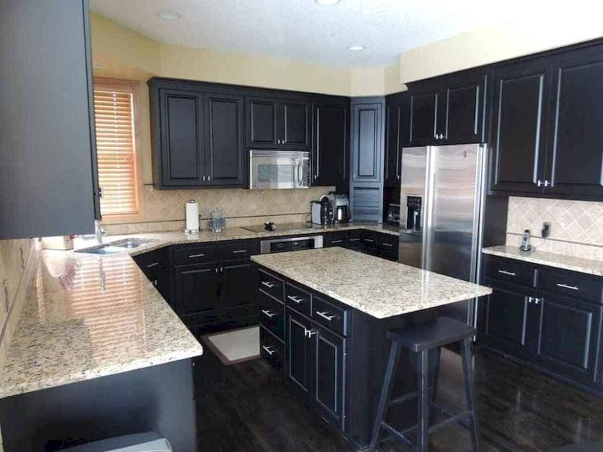 black cabinets with countertop
