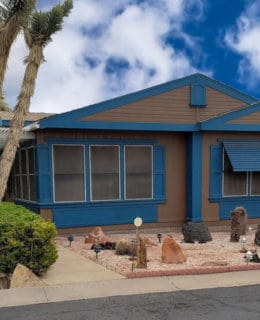 Blue And Brown Double Wide Mobile Home For Sale In Utah
