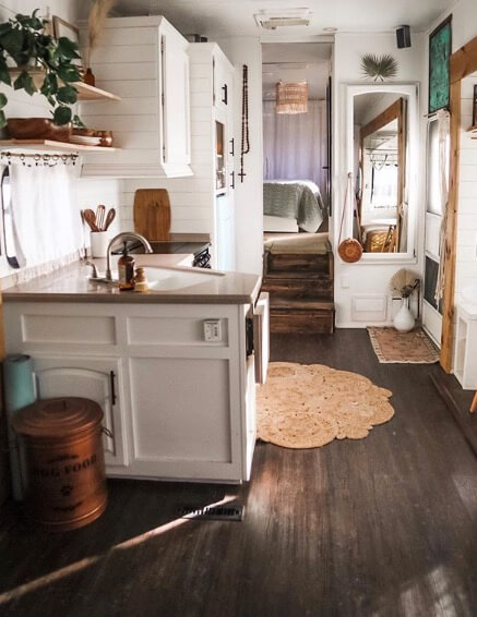 Boho chic camper 5th wheel kitchen
