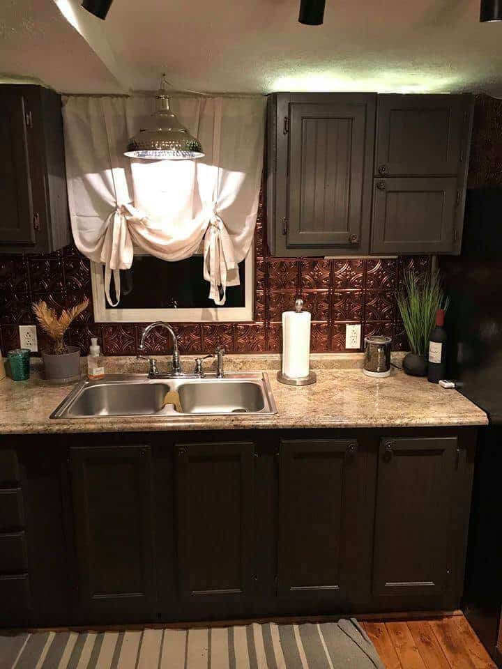 Brass Tin Ceiling Tile Look Backsplash 30k Farmhouse Style Mobile Home For Sale In Goode VA14 Copy