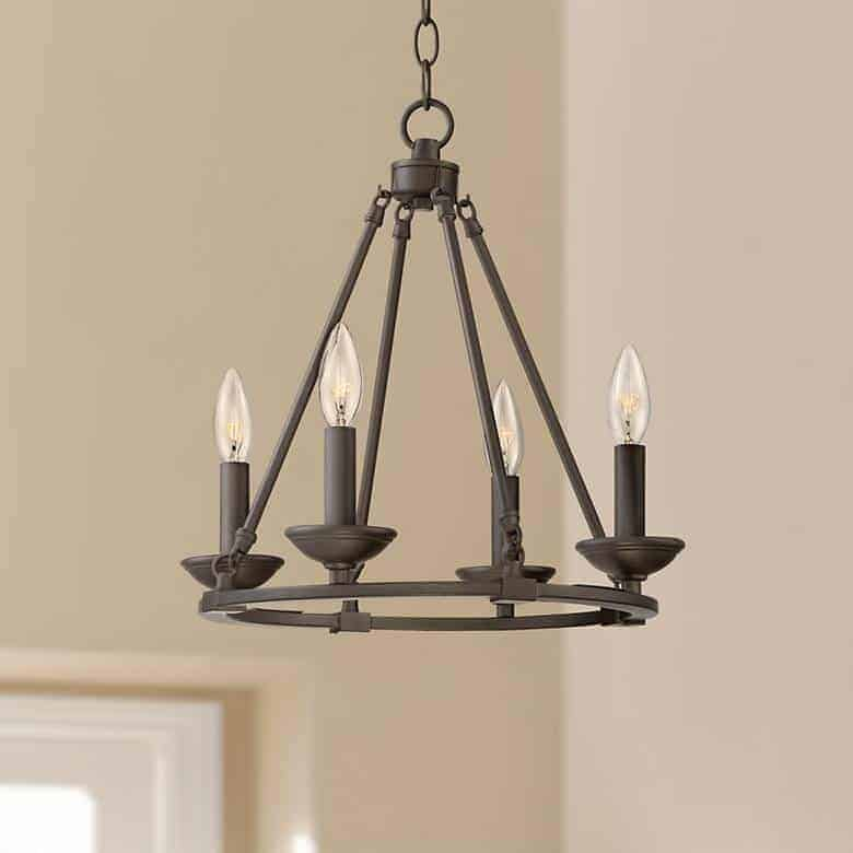 bronze metal 4 candle light chandelier