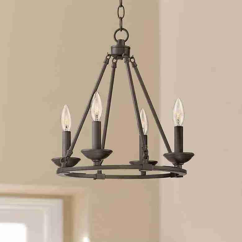 Bronze metal 4 candle light chandelier