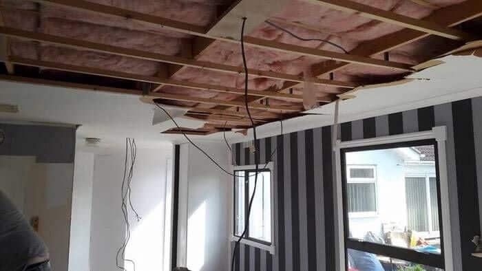 Caravan during the remodel ceiling repair