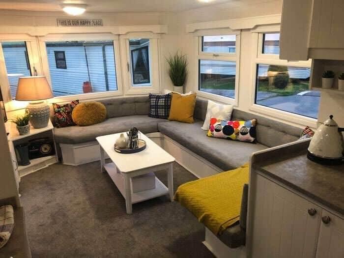 Renovated caravan reupholstered sitting area