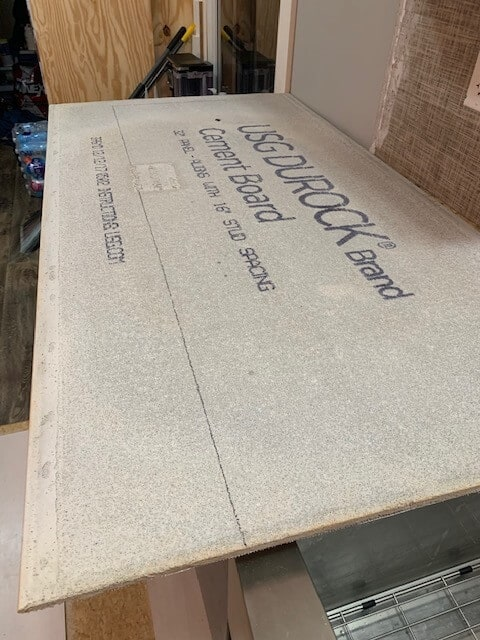 Cement board before cutting
