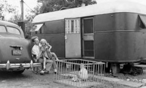 Children And Dad In Front Of 1940 Trailer And Car