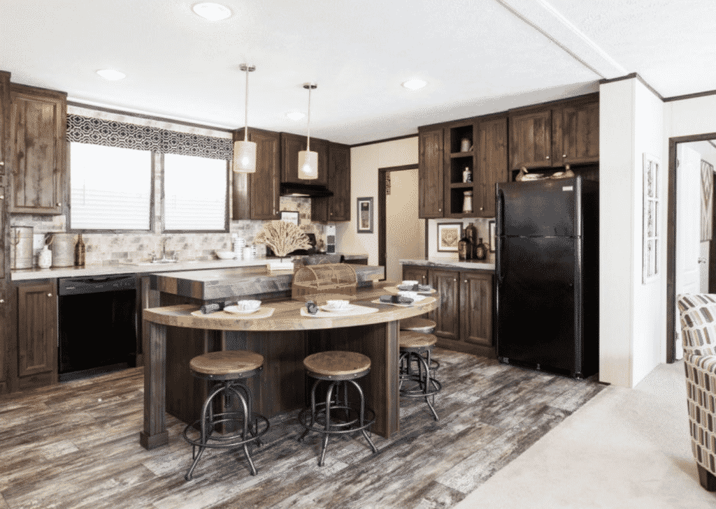 Claytons clifton model black appliances in manufactured home kitchen