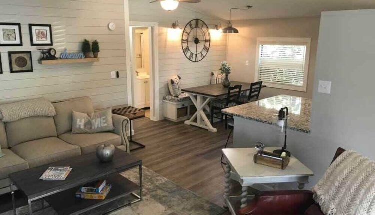 coastal farmhouse mobile home remodel - dining room after copy