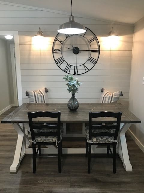 coastal farmhouse mobile home remodel - dining room table after