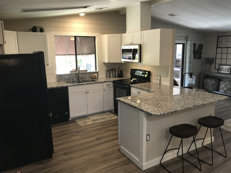 coastal farmhouse mobile home remodel - kitchen bar after