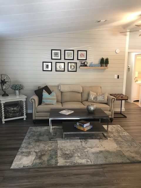 coastal farmhouse mobile home remodel - living room after 2