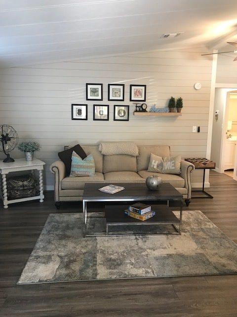 Coastal farmhouse mobile home remodel - living room after 2