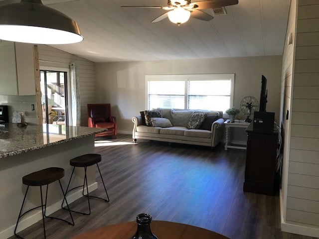 Coastal farmhouse mobile home remodel open floor living space
