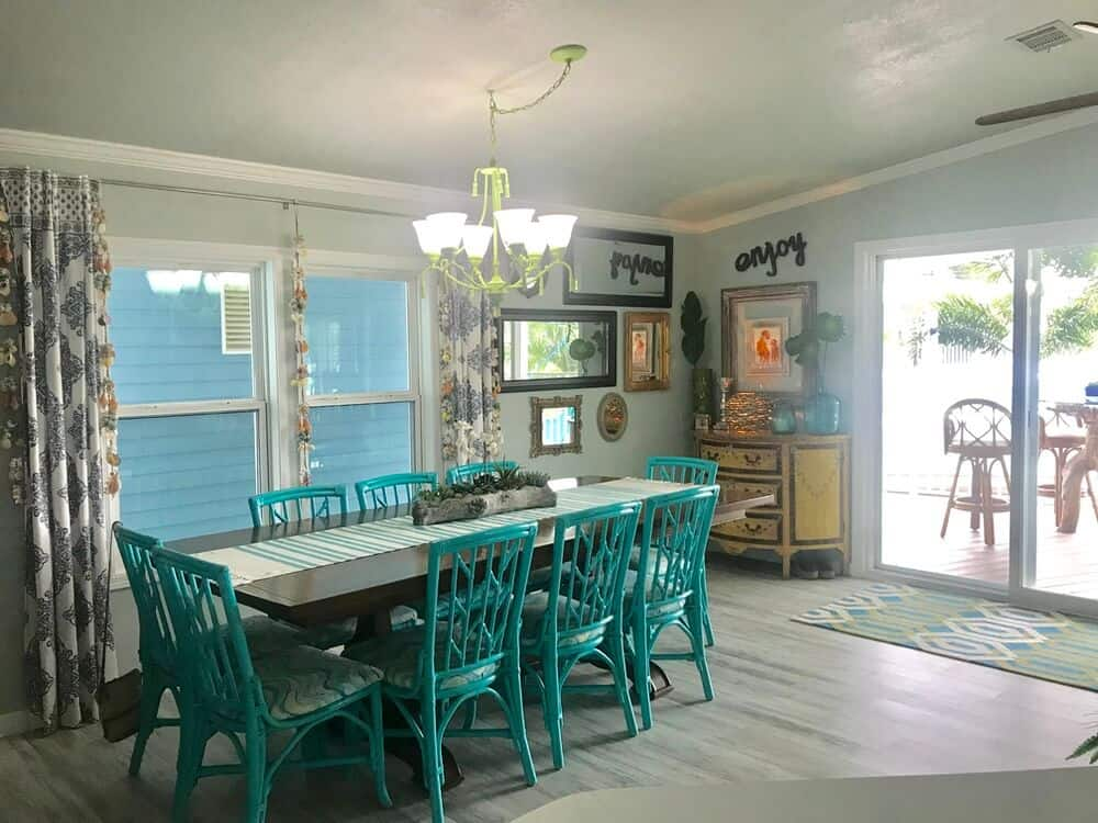 Colorful Dining Room In Beach Style Manufactured Home