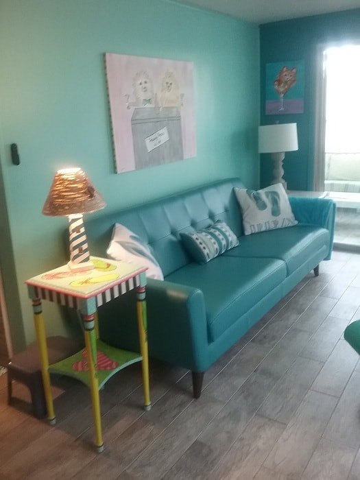 Colorful Fun Beach House Mobile Home Living Room In Blue