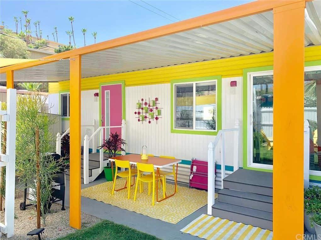 Colorful retro mobile home exterior