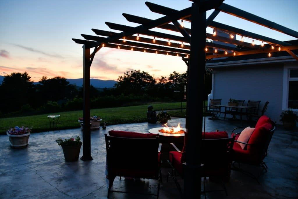 Comfortable outside seating area with fire pit tab snt7bnt 1