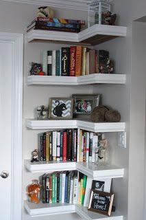 Corner open shelves
