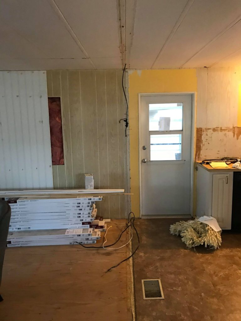 Cottage mobile home kitchen before