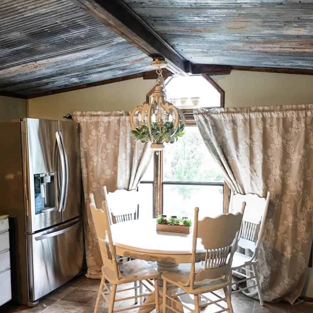 Country Chic Single Wide Dining Room With Curtains