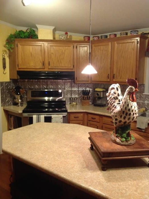 Country Tin Backsplash In Kitchen