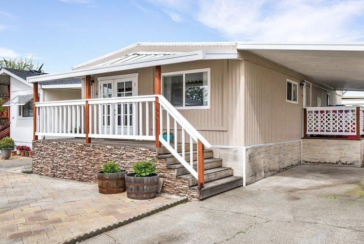 Covered Deck With Stone Bottom On Double Wide Mobile Home