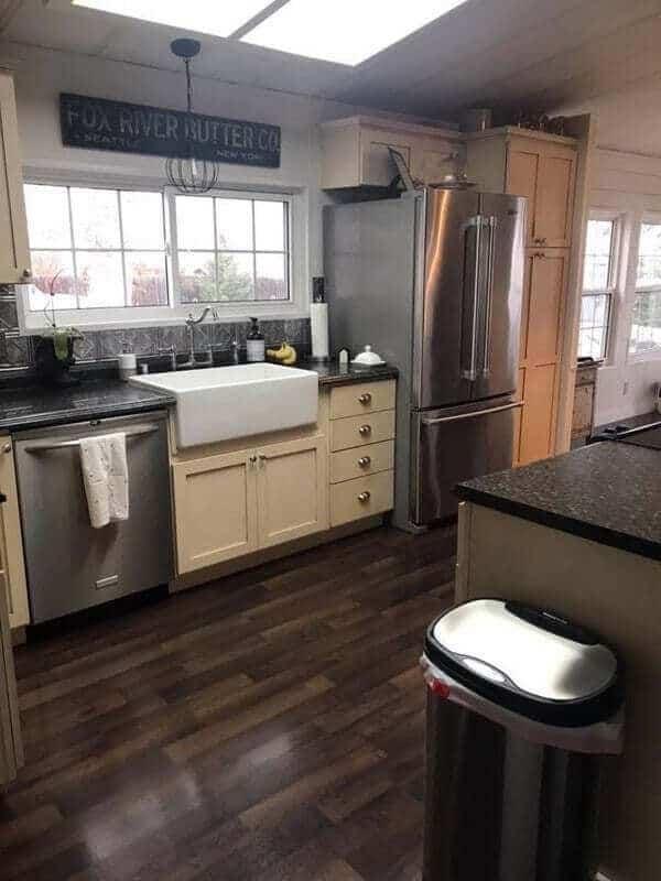 Cream cabinets in a mobile home