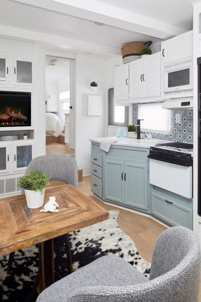 Crisp and clean fireplace