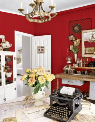 Deep Red Walls In Office