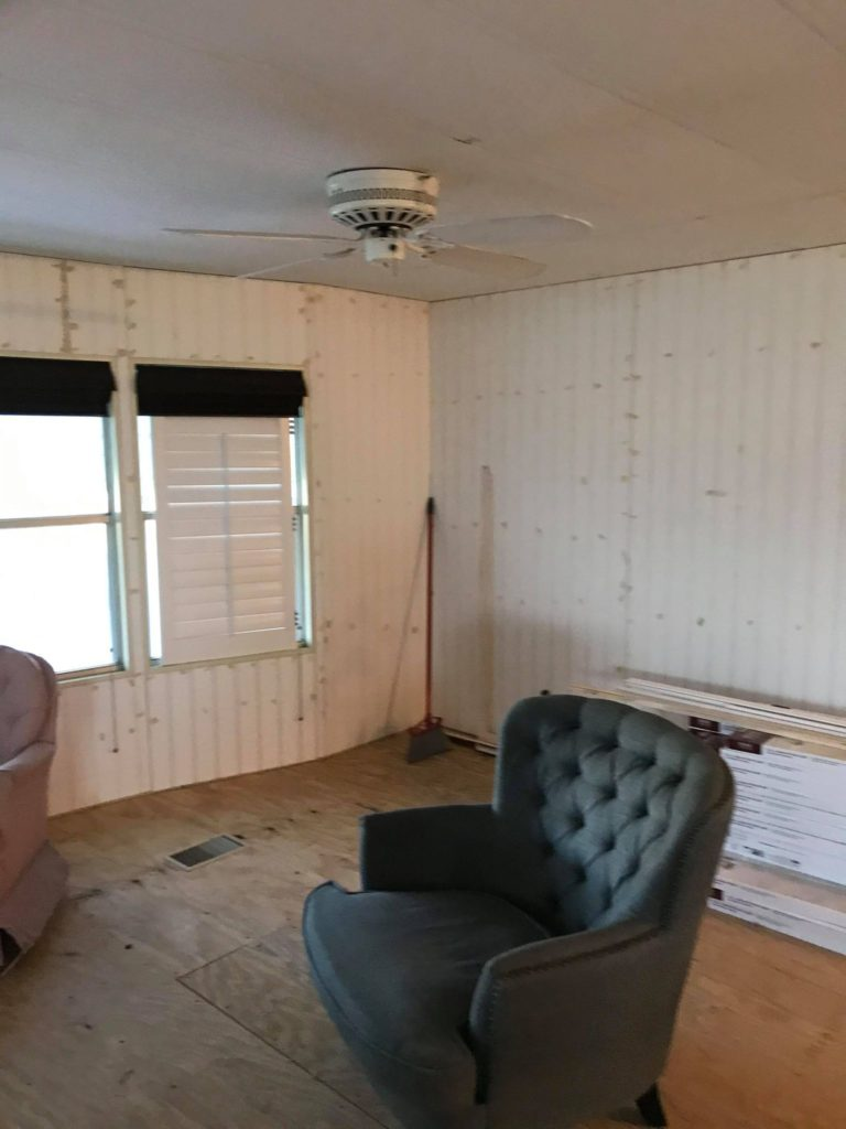 Designer mobile home interior before
