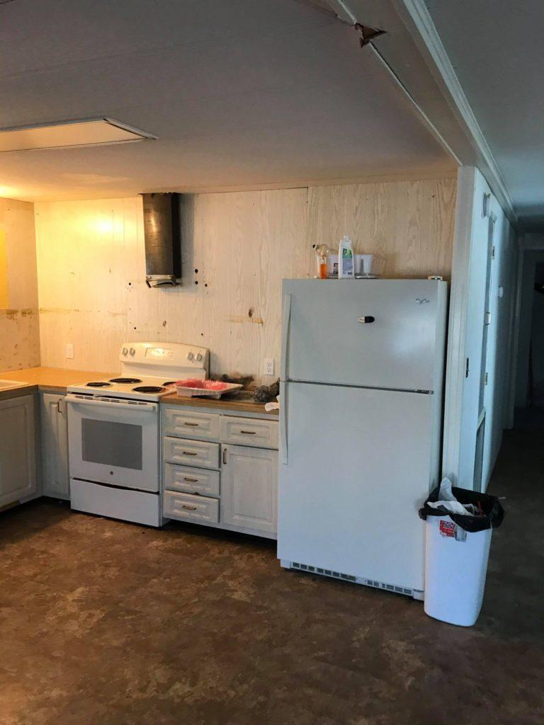 Designer mobile home kitchen before
