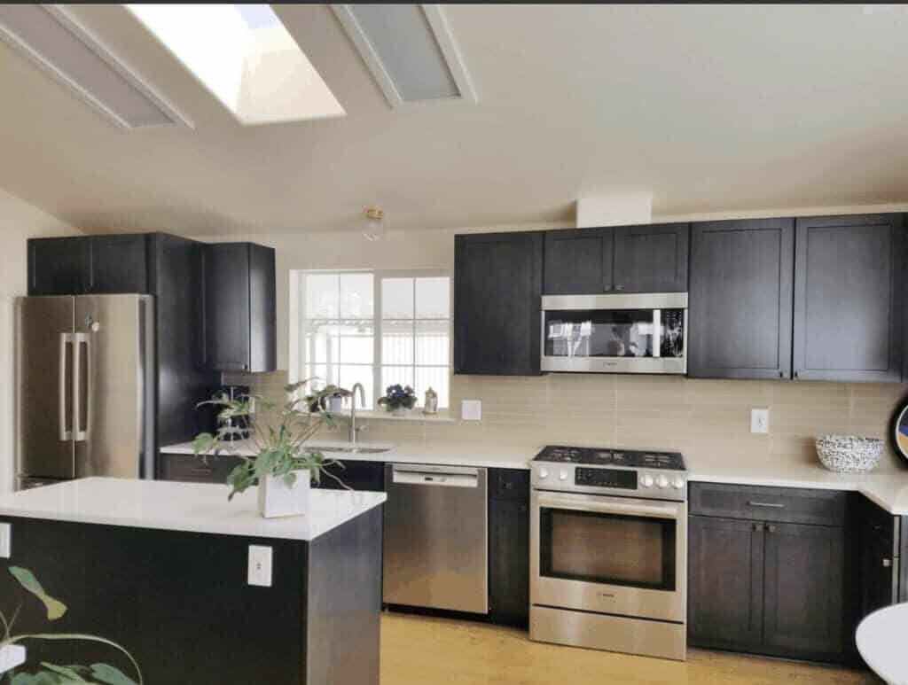 double wide kitchen with skylights