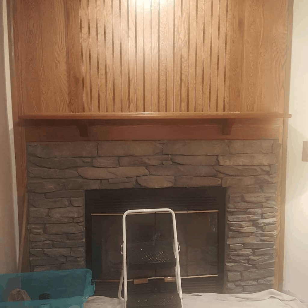 Eclectic Farmhouse Double Wide Mobile Home Fireplace Before And After00001