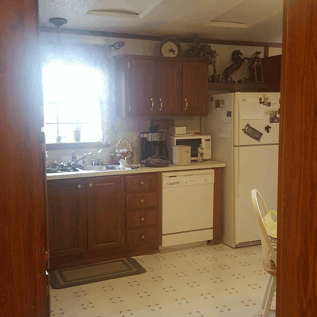 Eclectic Farmhouse Double Wide Mobile Home Kitchen Remodel Before00002