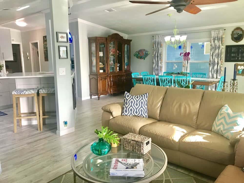 Eclectic Living Room In 1988 Double Wide Manufactured Home