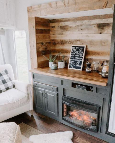 Farmhouse 5th wheel fireplace