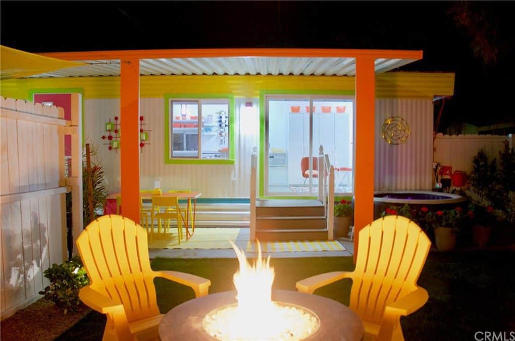 Fire pit colorful retro mobile home
