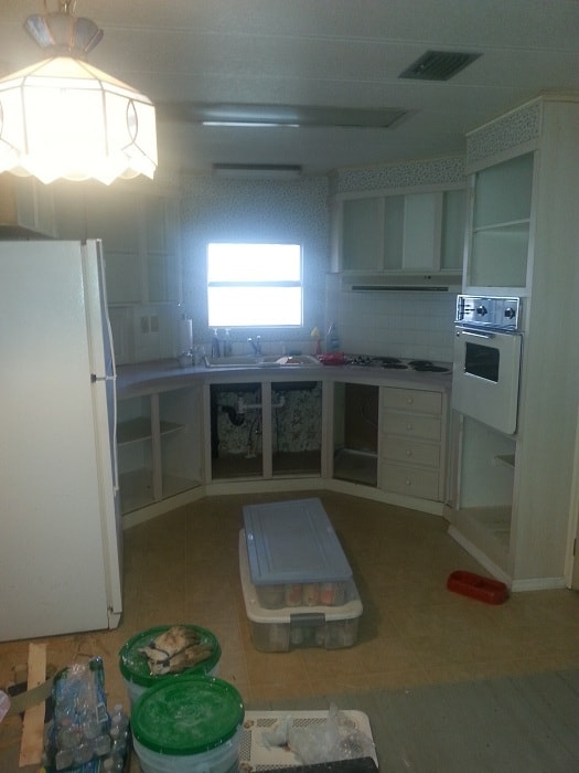 Flip Flop Beach Theme Mobile Home Kitchen Before