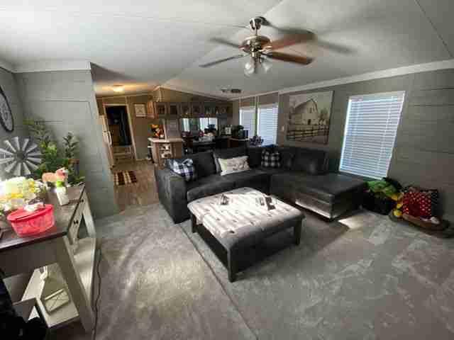 Florida single wide living room after