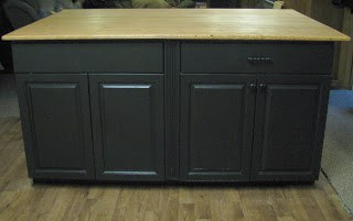 free cabinets create kitchen island in mobile home