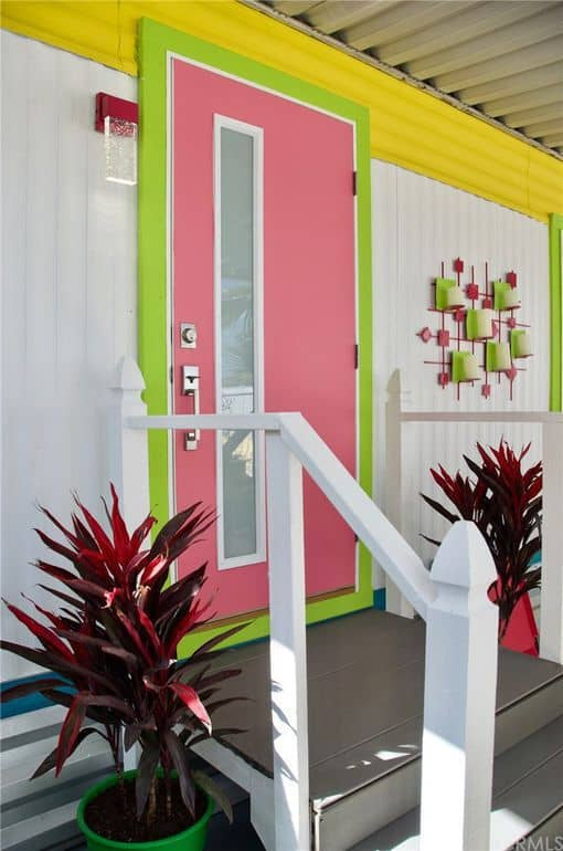 Front door retro mobile home