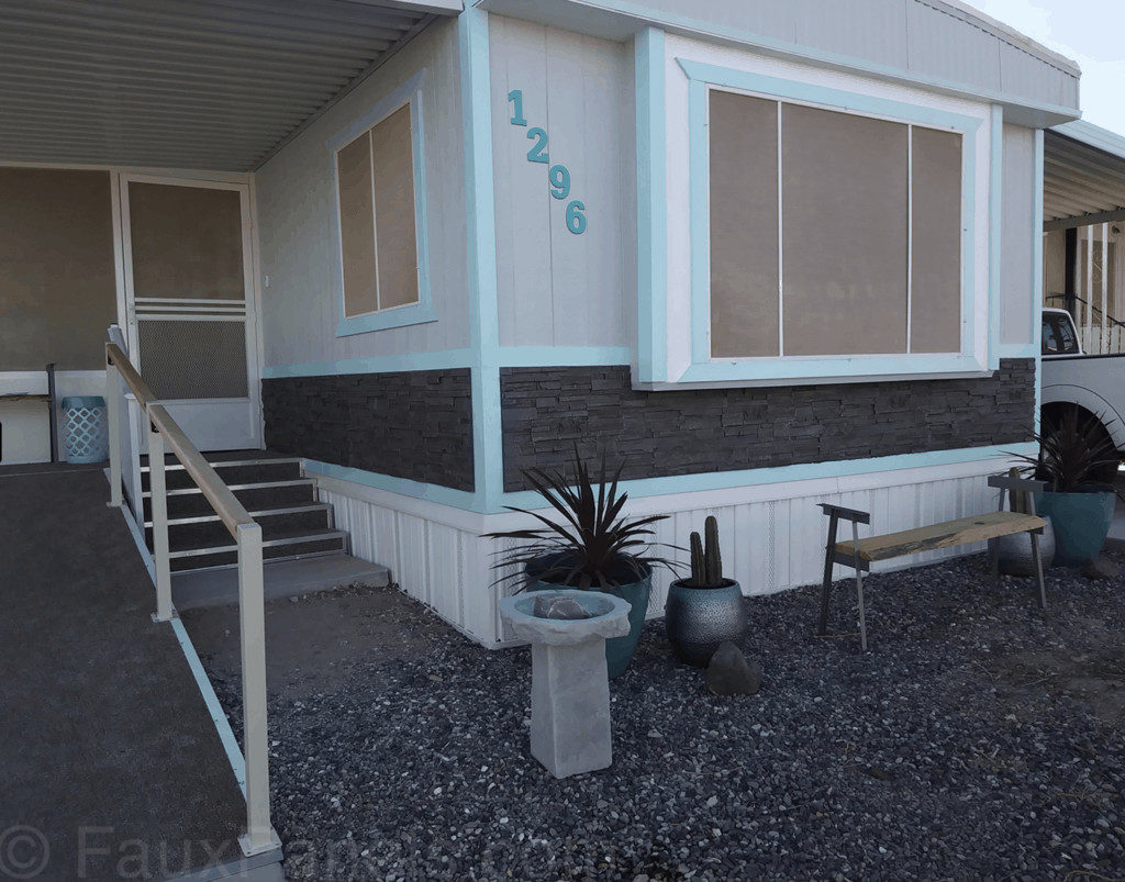 Fuax Rock Panel Used On Mobile Home Sideing 1