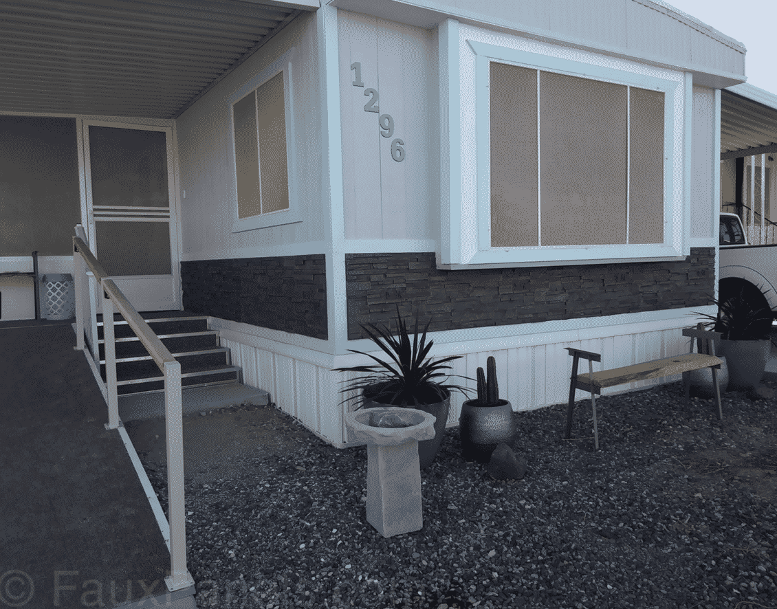 Fuax Rock Panel Used On Mobile Home Sideing