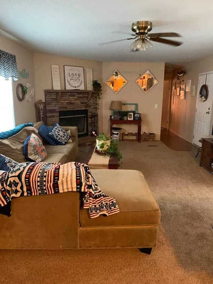 georgia-single wide mobile home with stone fireplace in living-room